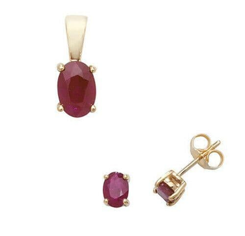 Ruby Pendant and Earrings Set Oval Solitaire 9ct Yellow Gold Hallmarked
